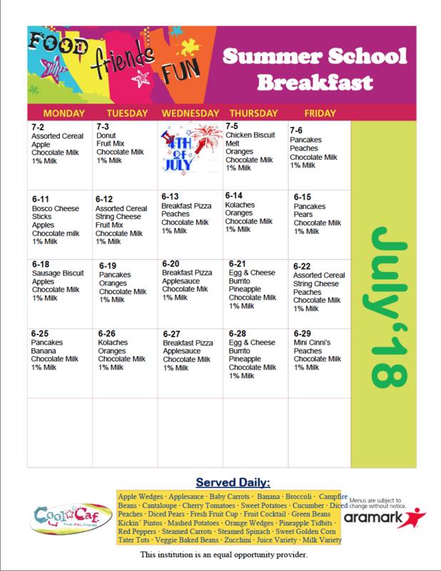 July Breakfast Menu Thumbnail Image