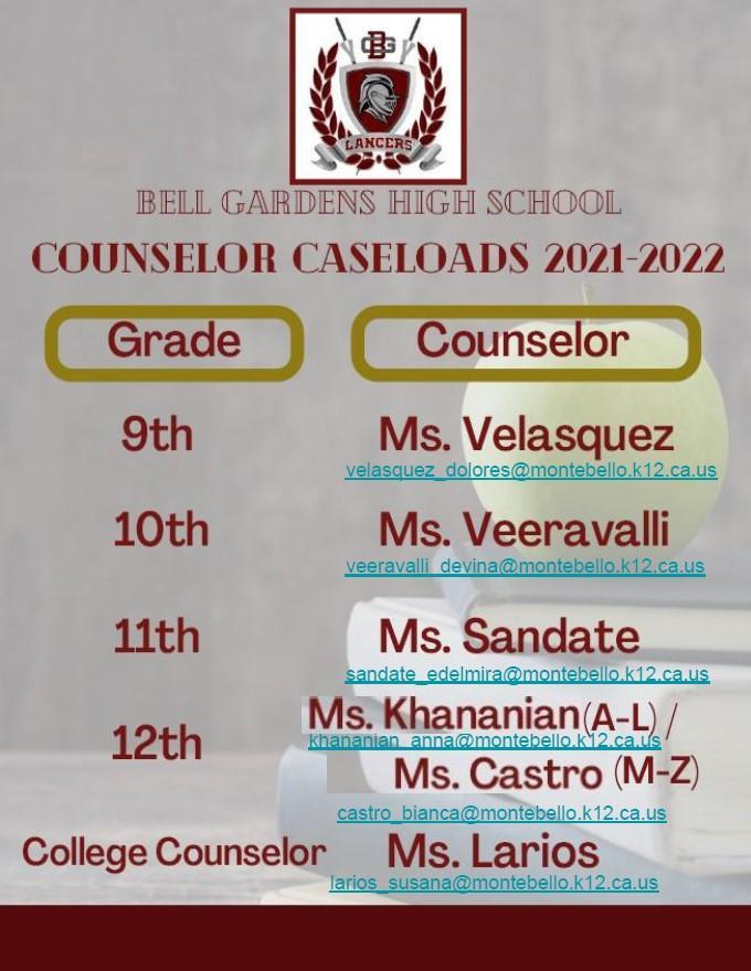 counselor assignments 2021-2022