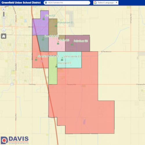 Preview Image of the Davis Demographics Interactive Map for the Greenfield Union School District