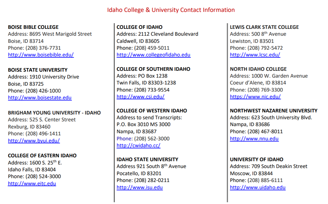 Idaho College/University Contact Information