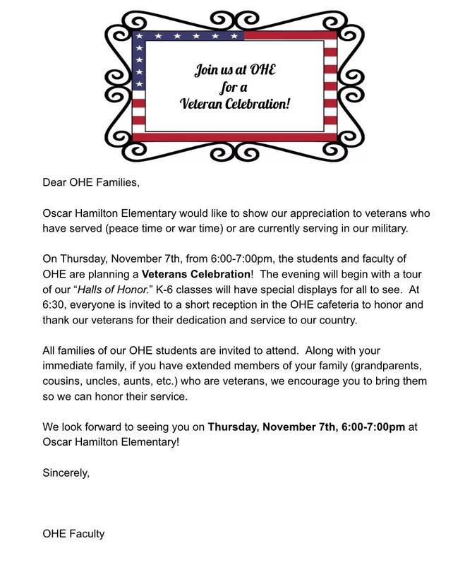 Veterans Celebration Announcement