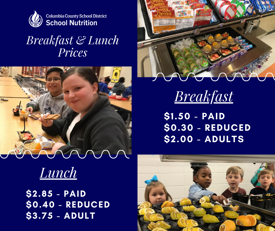 school breakfast and lunch prices infographic