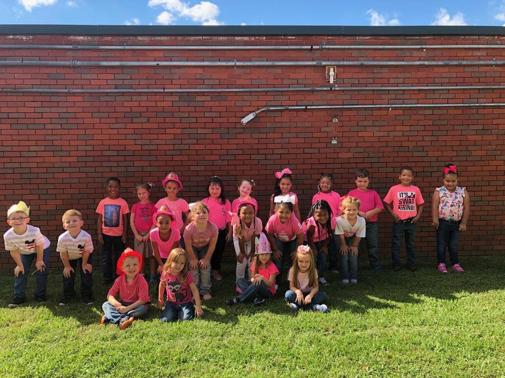 Kindergarten students support Breast Cancer Awareness