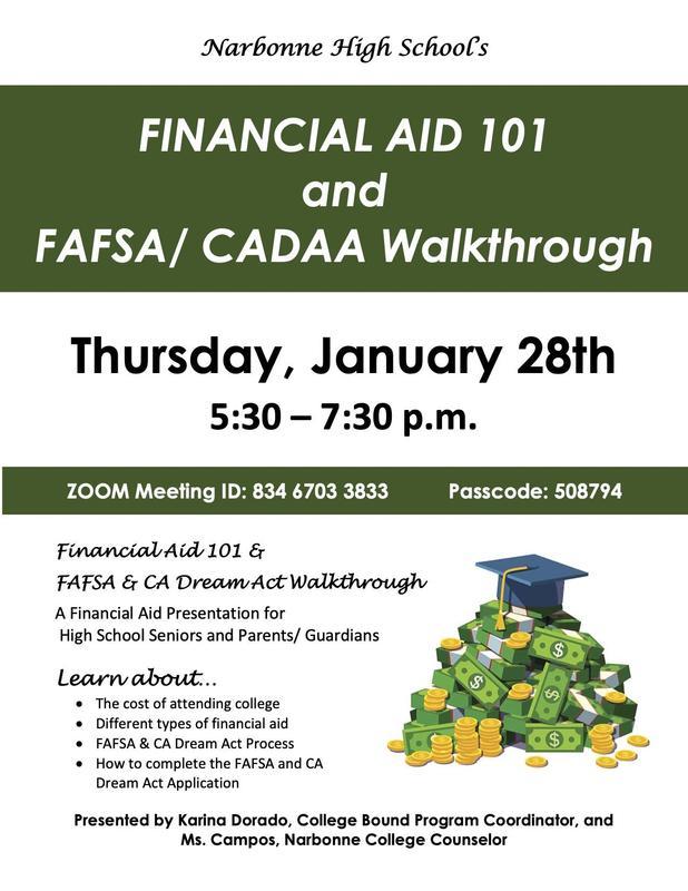 Narbonne's Financial Aid 101 and FAFSA/CADAA Walkthrough Featured Photo