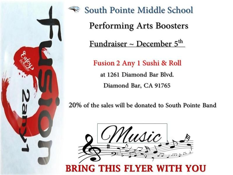 SPMS Performing Arts Boosters Fundraiser  ~  FUSION 2 Any 1 Sushi & Roll Featured Photo