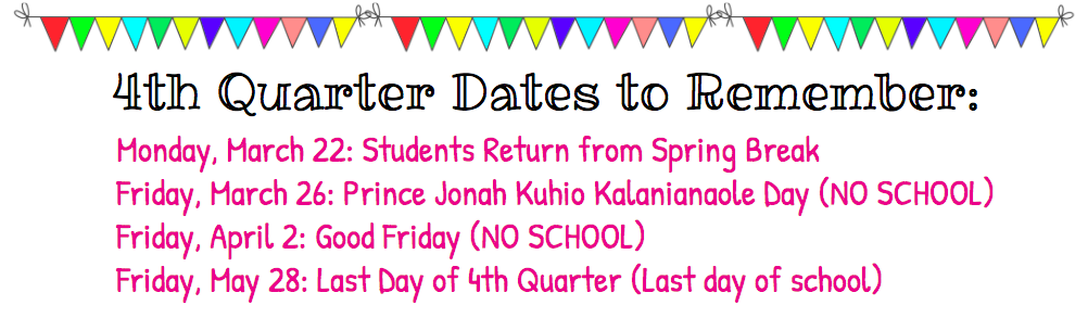 4th Quarter Dates to Remember