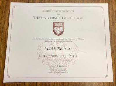 Mr. Scott Becvar Named Outstanding Educator Featured Photo