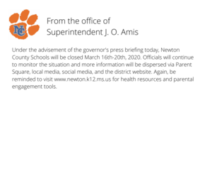 School Announcement on March 16-20, 2020 Closing