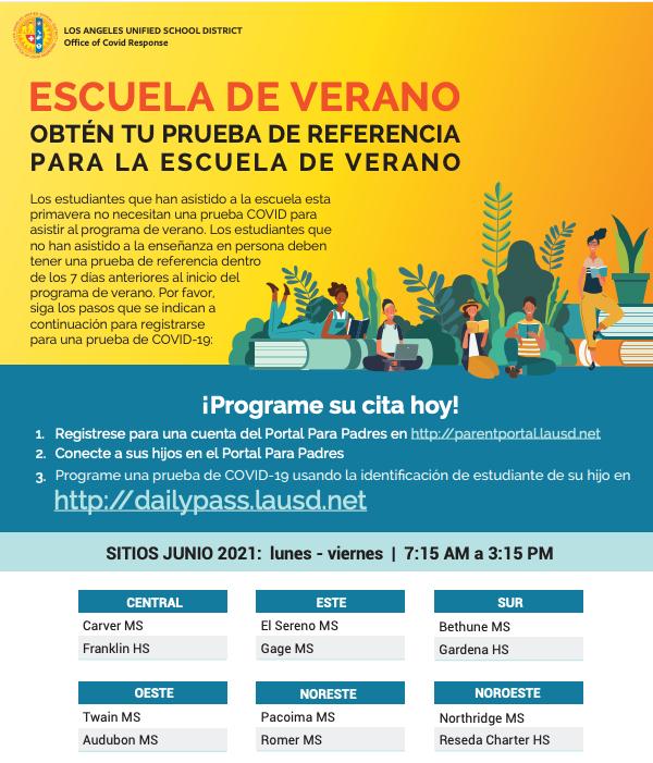 Escuela de verano - Prueba gratuita de covid Featured Photo