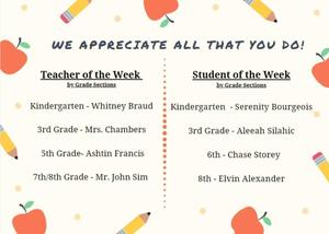 Teacher and Student of the Week