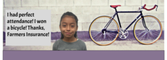 2nd 6 weeks perfect attendance bicycle winner