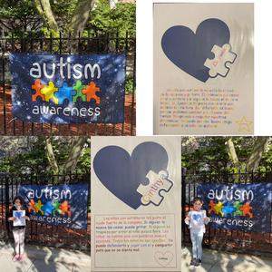 Students in front of autism awareness sign and assignments collage