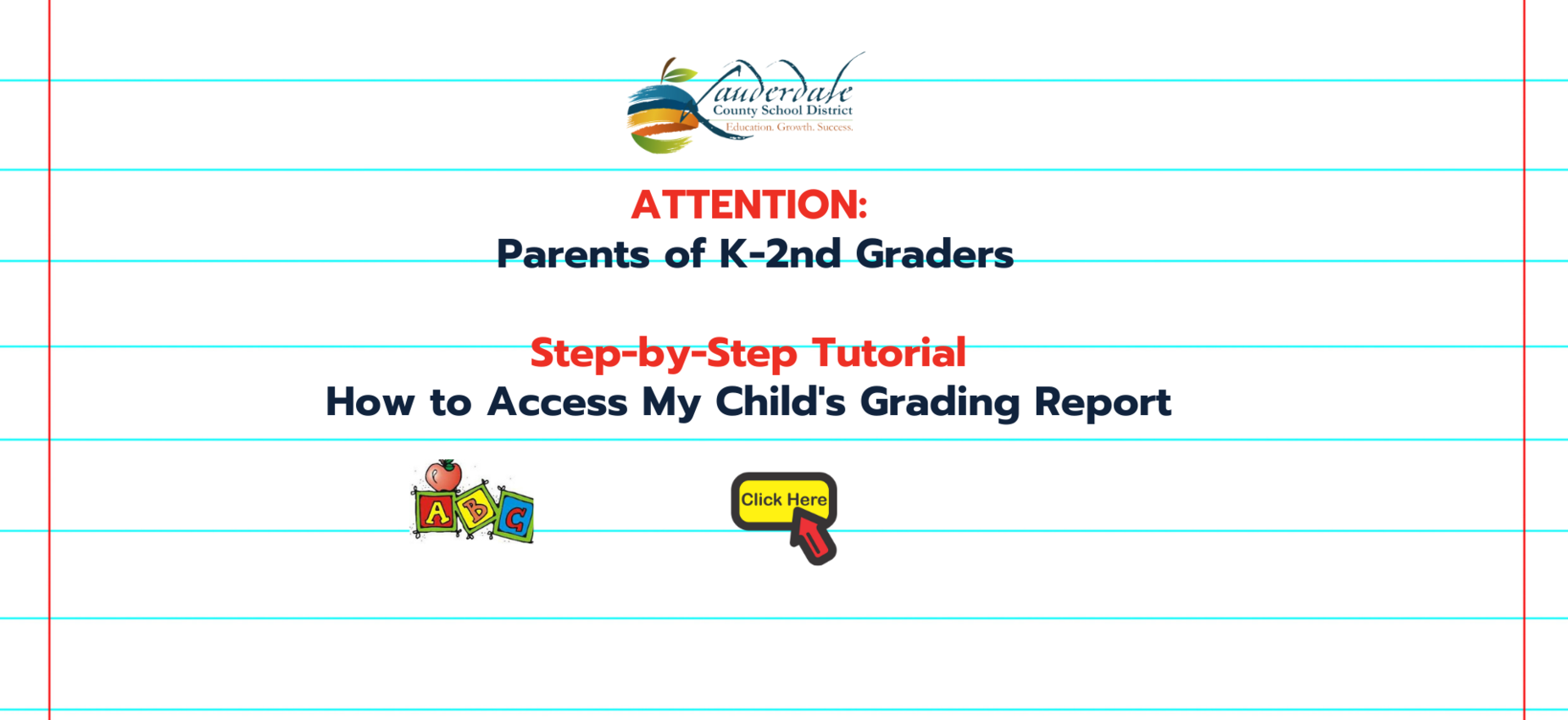 K-2nd Grading Report Access for Parents Graphic