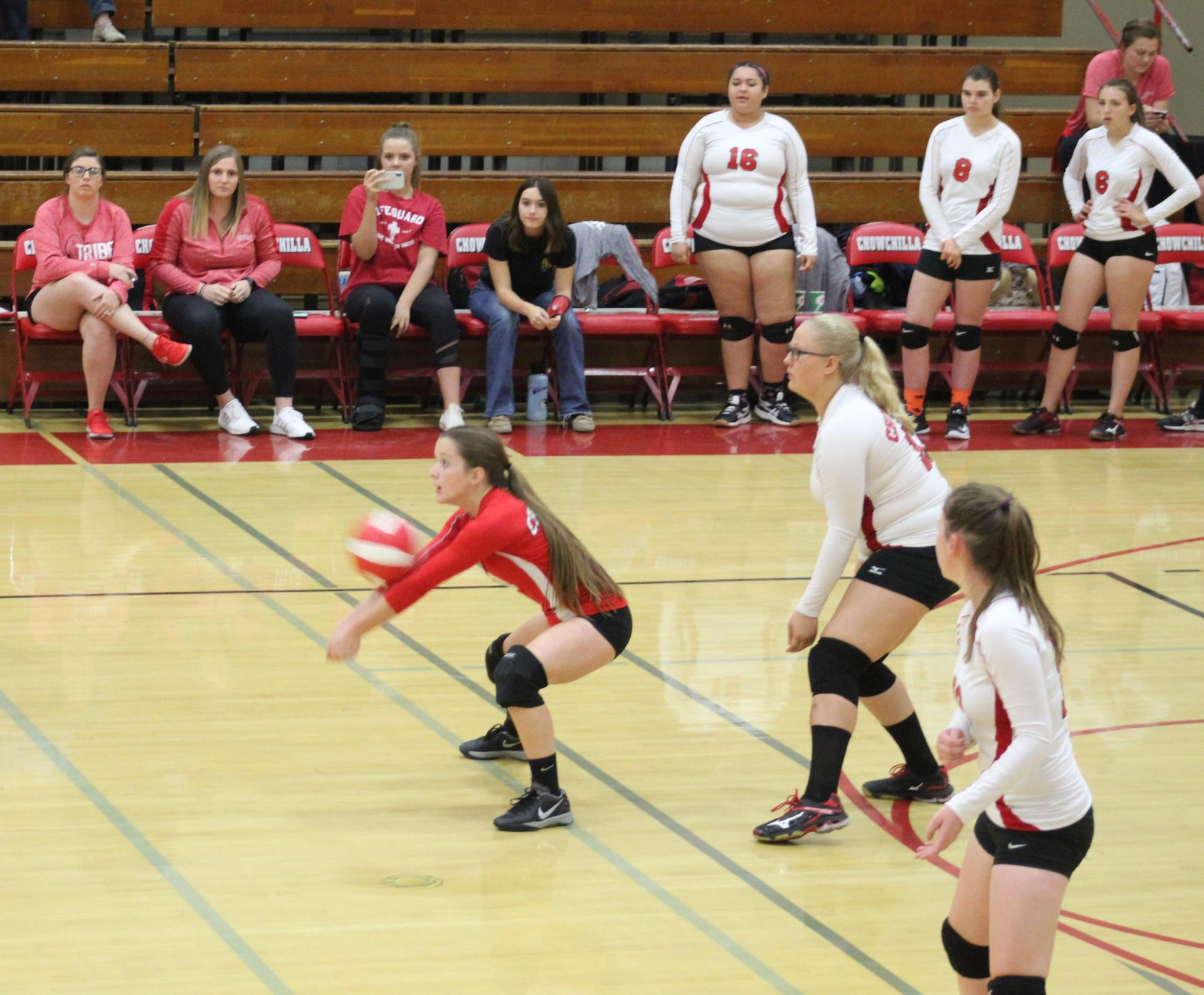 Junior Varsity girls playing volleyball against Washington Union