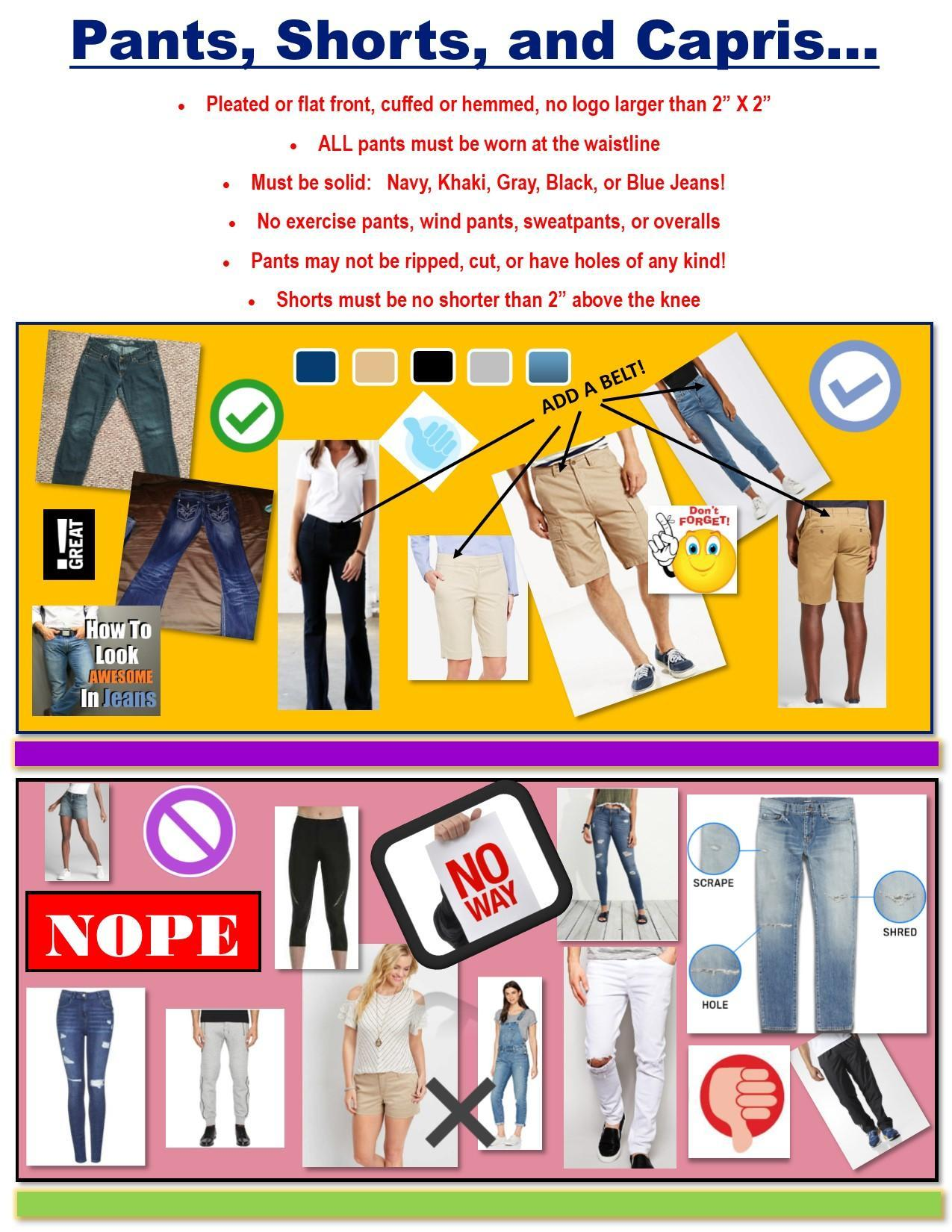 flyer for pants and jeans dress code