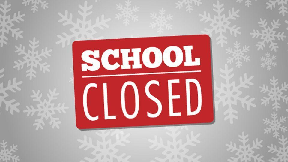 Snow Day Logo with sign indicating that school is closed.