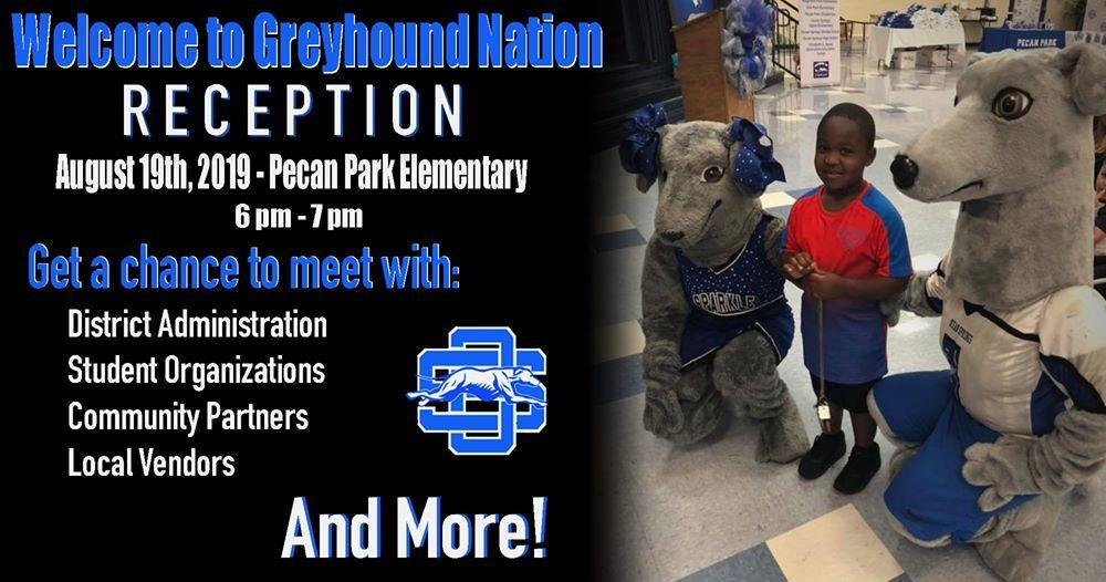 banner for welcome to greyhound nation event