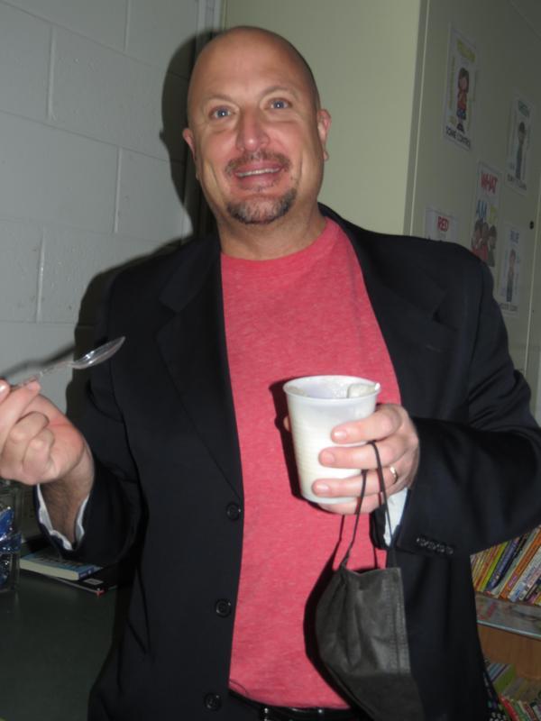 TK Superintendent Dan Remenap enjoys his Vernor's and Hudsonville ice cream float.