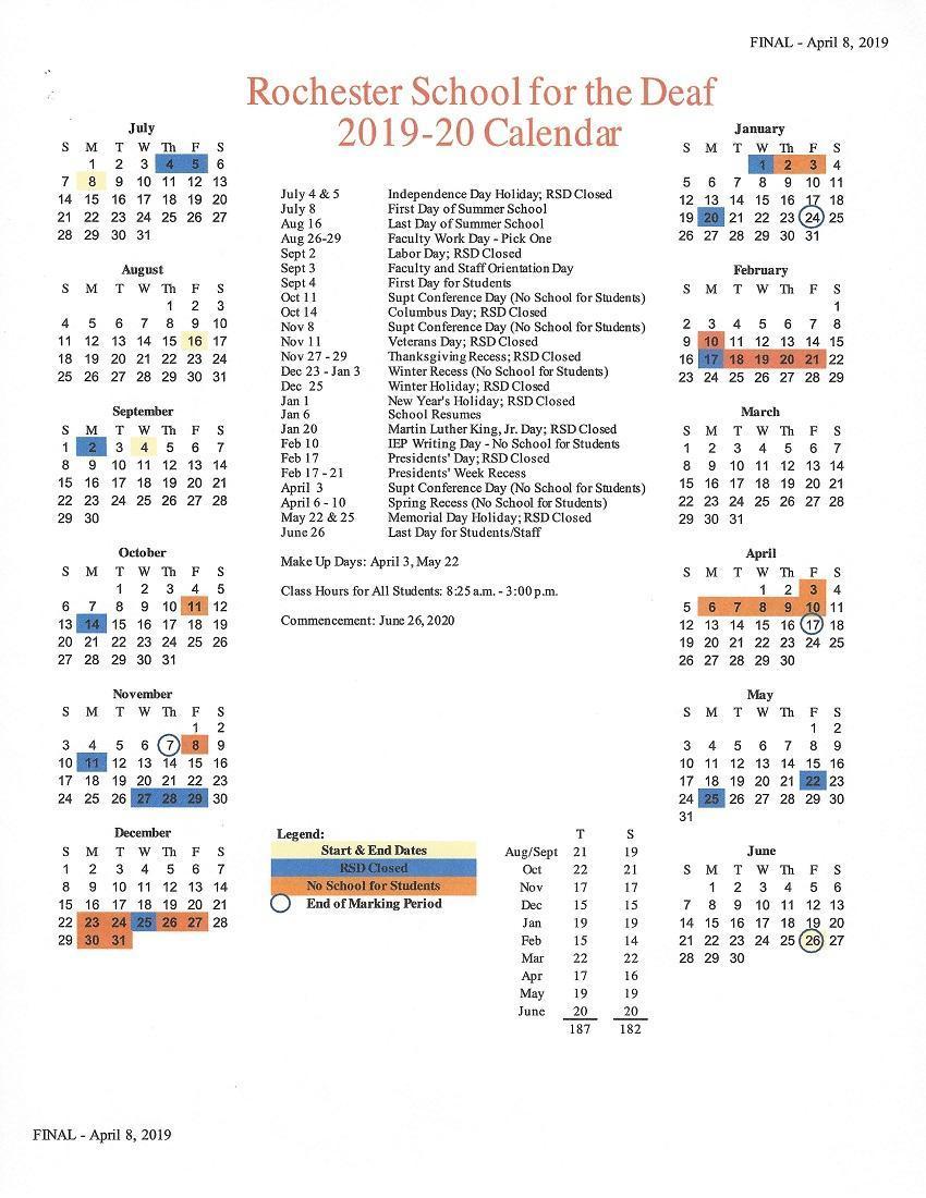 RSD 2018-2019 Academic Calendar