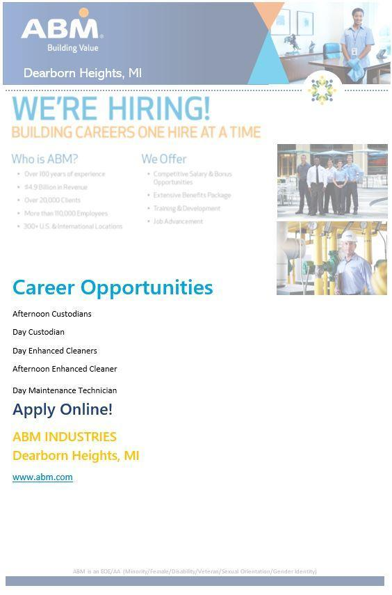 ABM Custodial Services is hiring Custodians to work in the Westood Community School District.