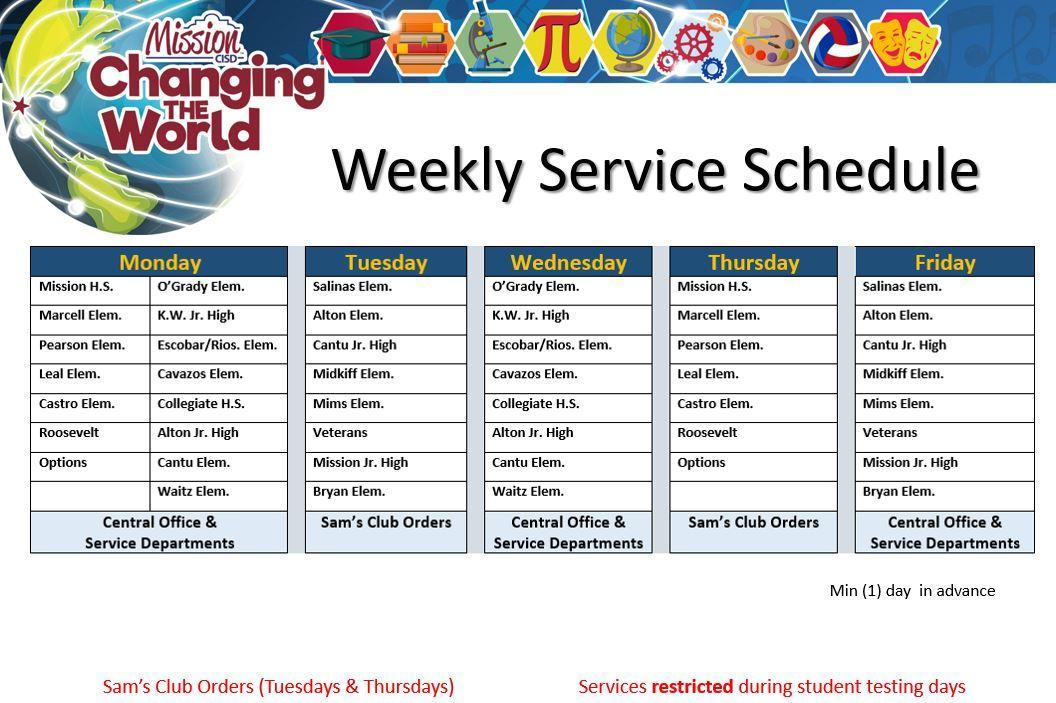 Weekly Service Schedule