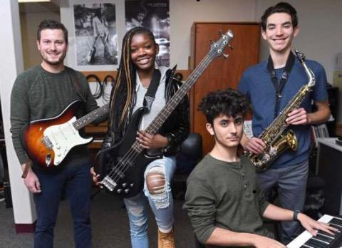 HSC Jazz Band members teacher Mike McGinley, Kaila Bolden, Angel Alvarez, Thomas Sabin