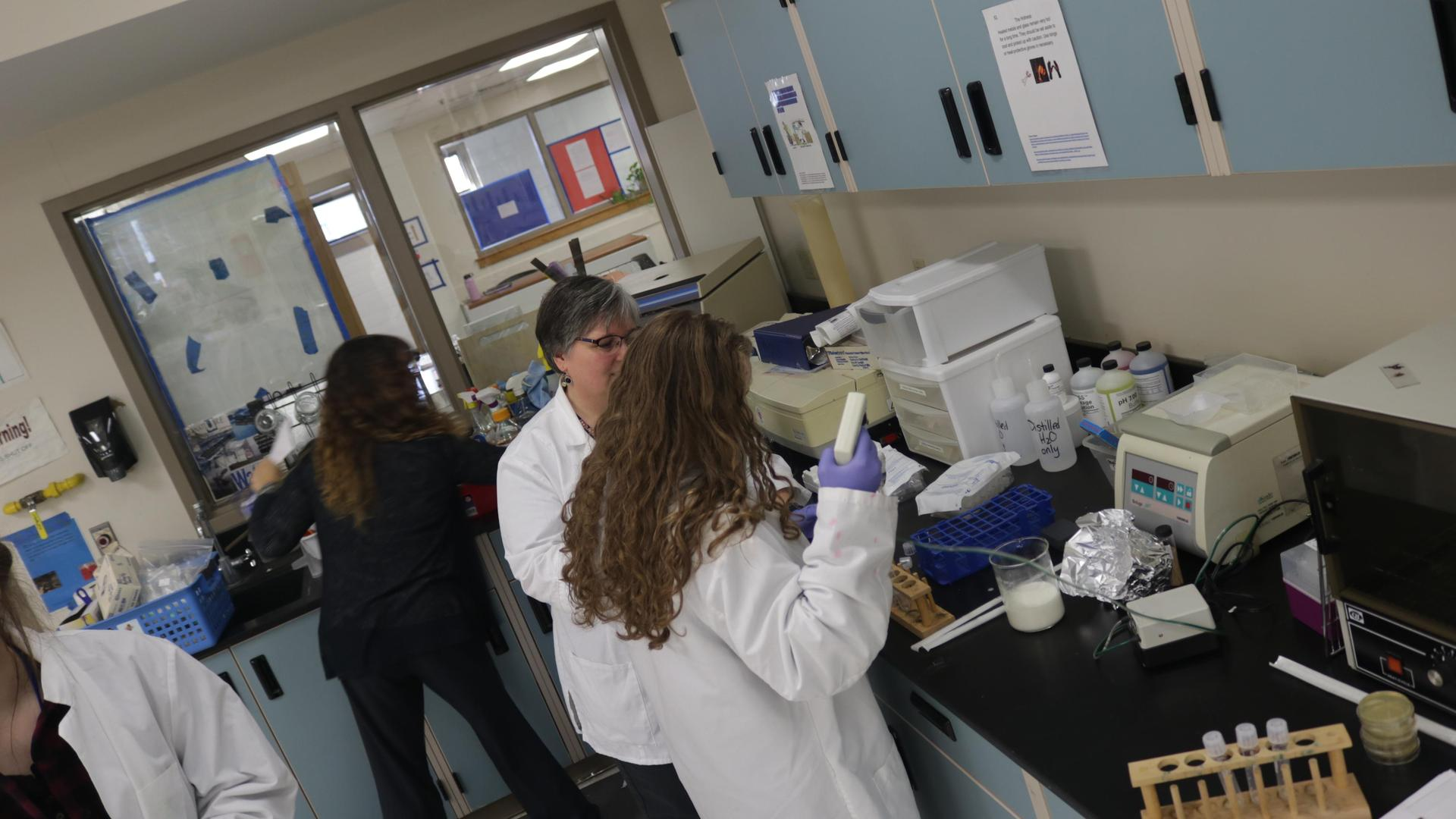 Lab classroom with students working
