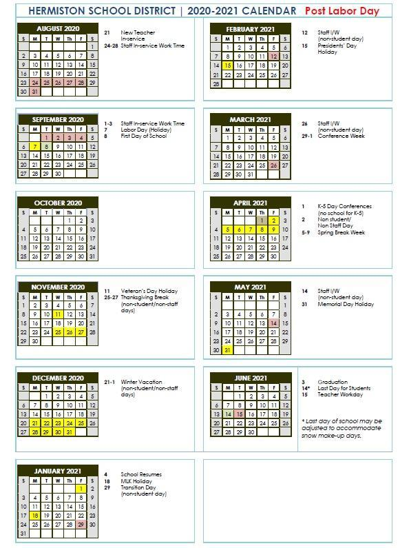 2020-21 School Calendar Post Labor Day.