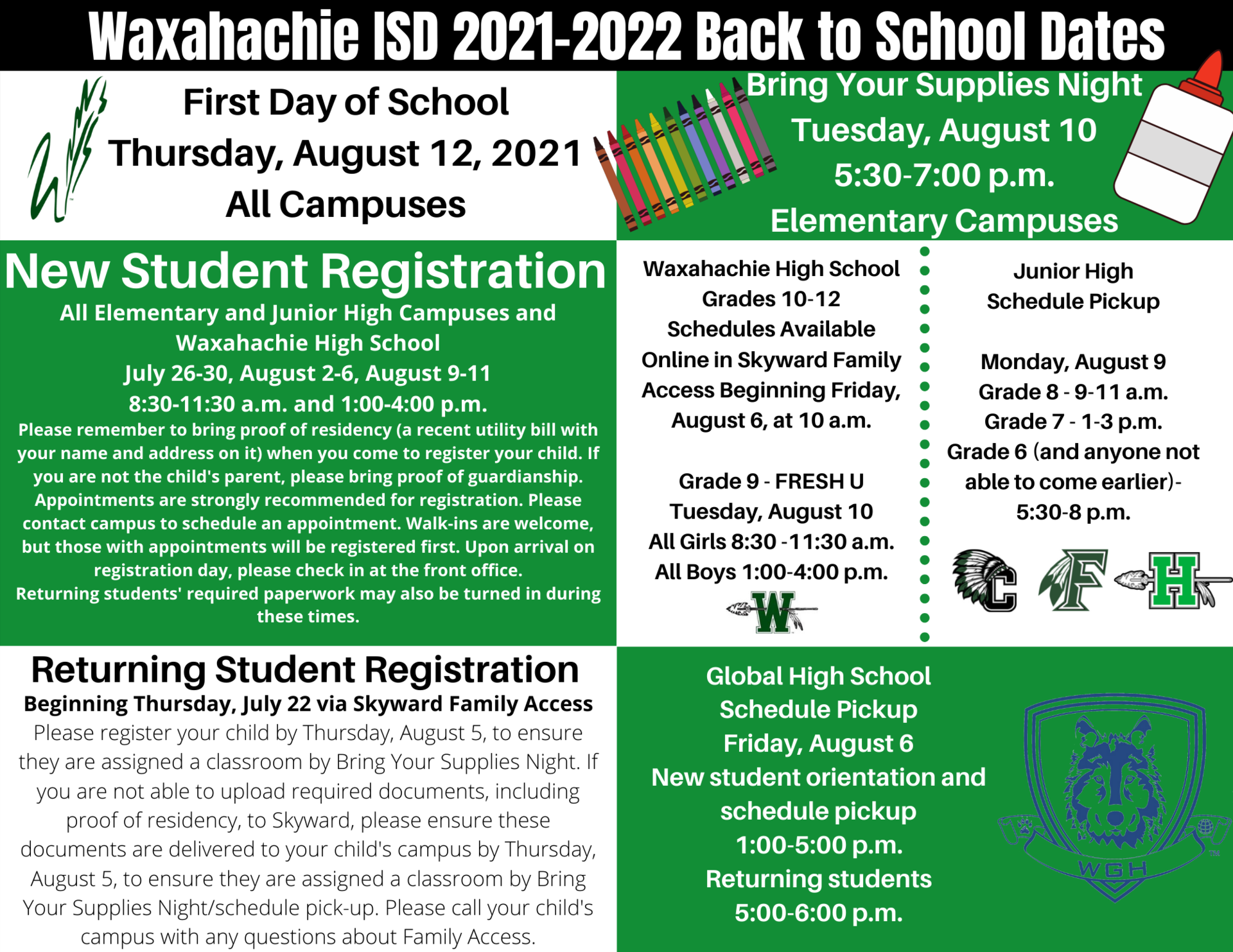 graphic with back to school dates as described in text below