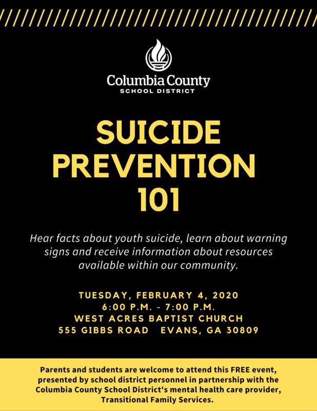 Suicide Prevention Info Night flyer