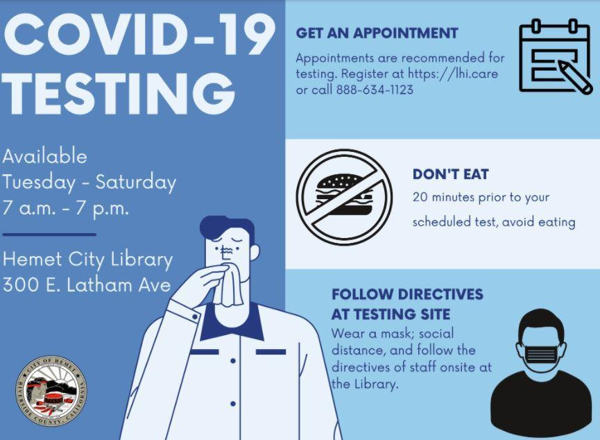 Picture of COVID-19 testing information in Hemet. For more information of scheduling an appointment, call 888-6341123
