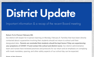 Snapshot of front page of district update