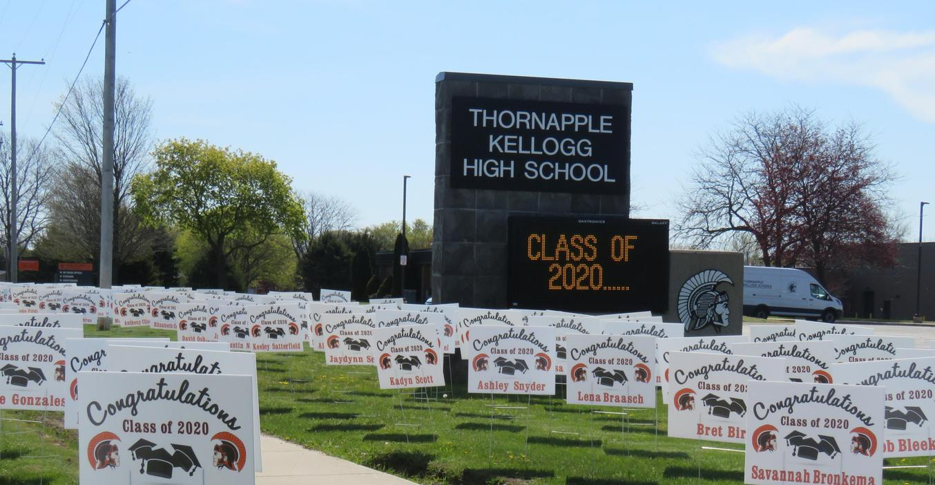 Signs of support for the TKHS Class of 2020 filled the area around the high school sign.