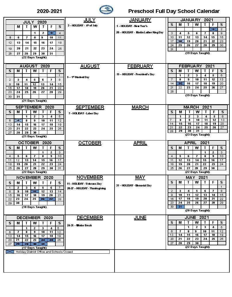 2020-21 Full Day Preschool Calendar
