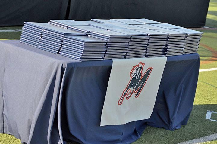 Diplomas lined up