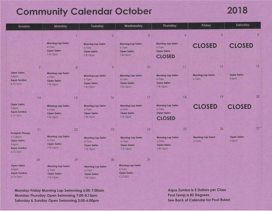October Pool Schedule 2019