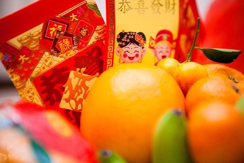 chinese new year colorful napkin and oranges