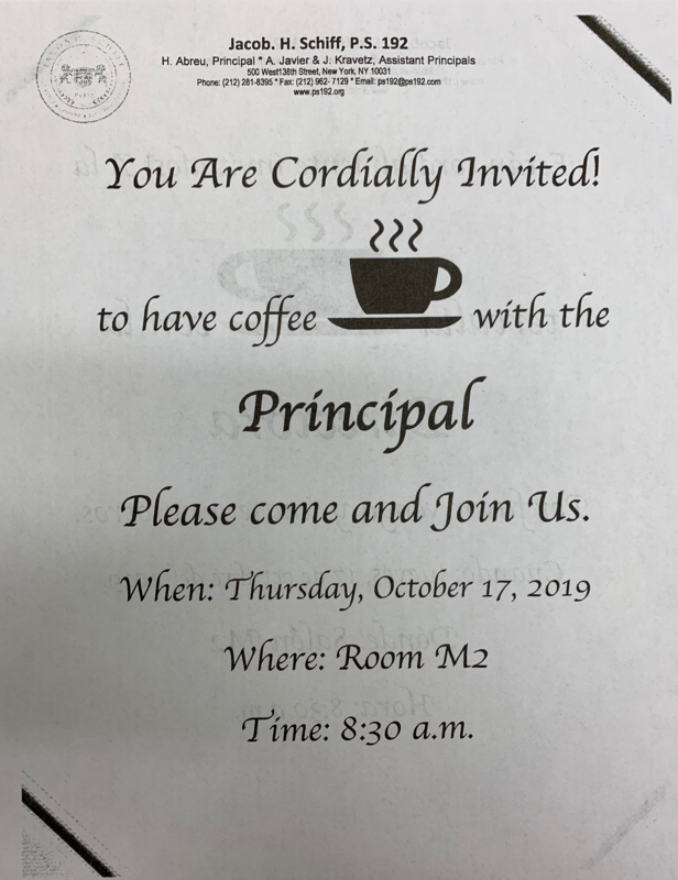 coffee with Principal English