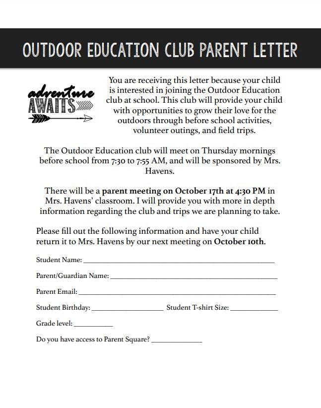 NWACA Outdoor Ed Info