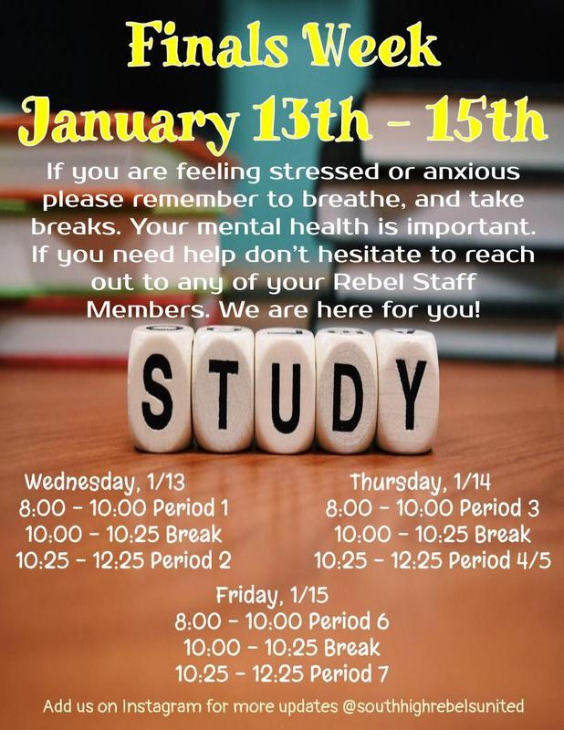 Finals Schedule for January 13th, 14th, and 15th Thumbnail Image