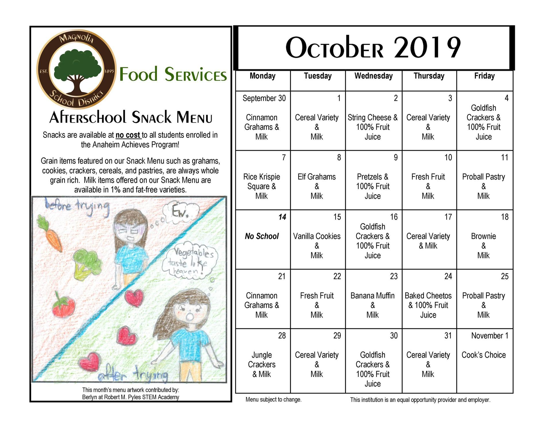 October Snack Menu