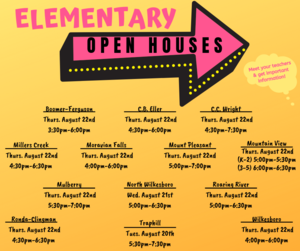 Elementary Open House Schedules