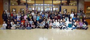 A group of approximately 110 Elementary School students pose for a picture.