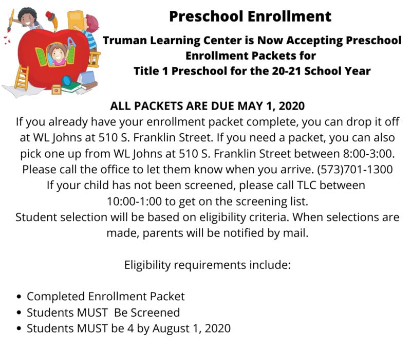 Preschool Enrollment 2020-2021