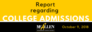 College Admissions Report - 10/9/18