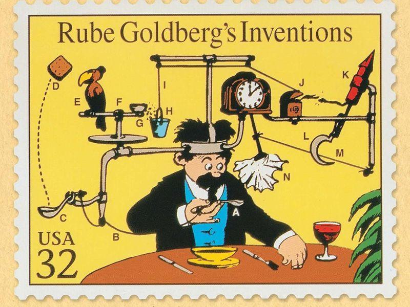 A Rube Goldberg machine from an old newspaper.