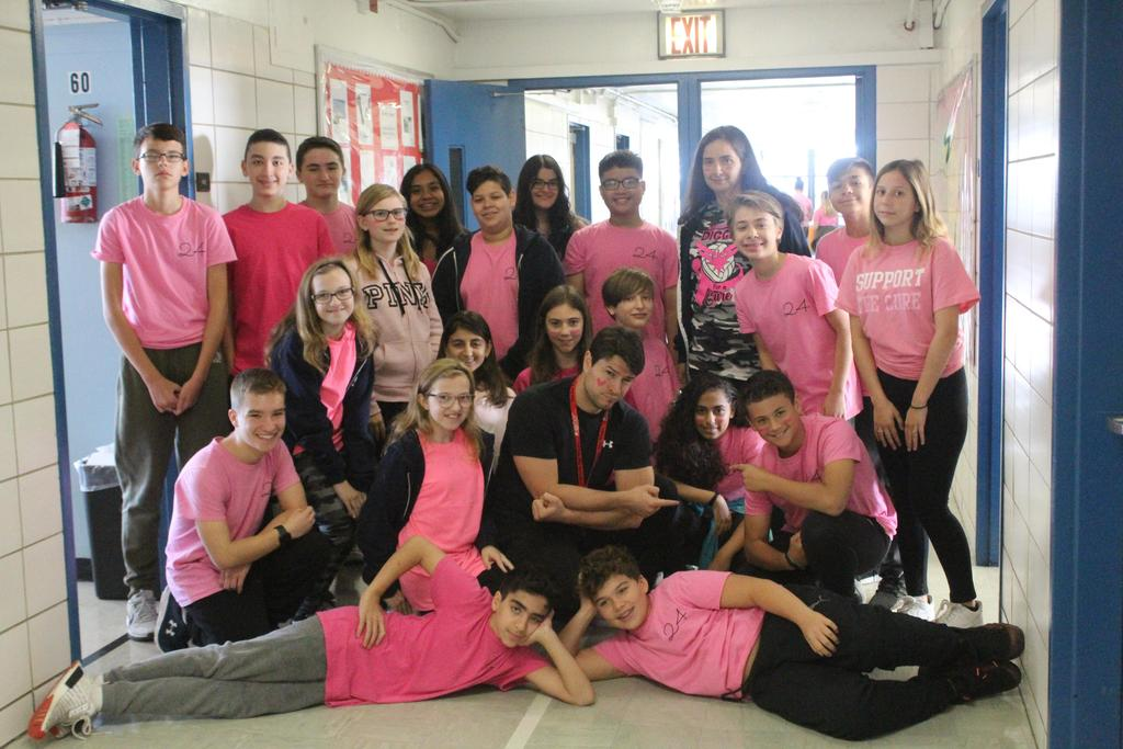 8th graders support breast cancer awareness