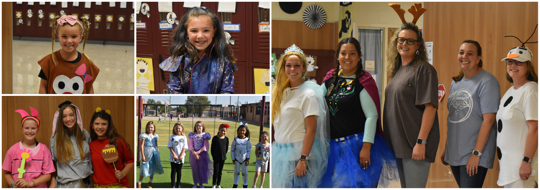Elementary students and teachers dress for Halloween