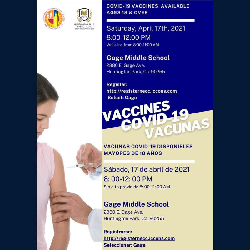 COVID-19 Vaccines Available at Gage Middle School/Vacunas Covid-19 Disponibles en Gage Middle School Thumbnail Image