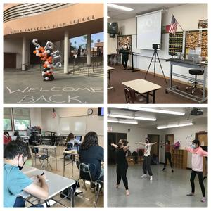 collage of welcome back and SPHS students/teachers in classrooms